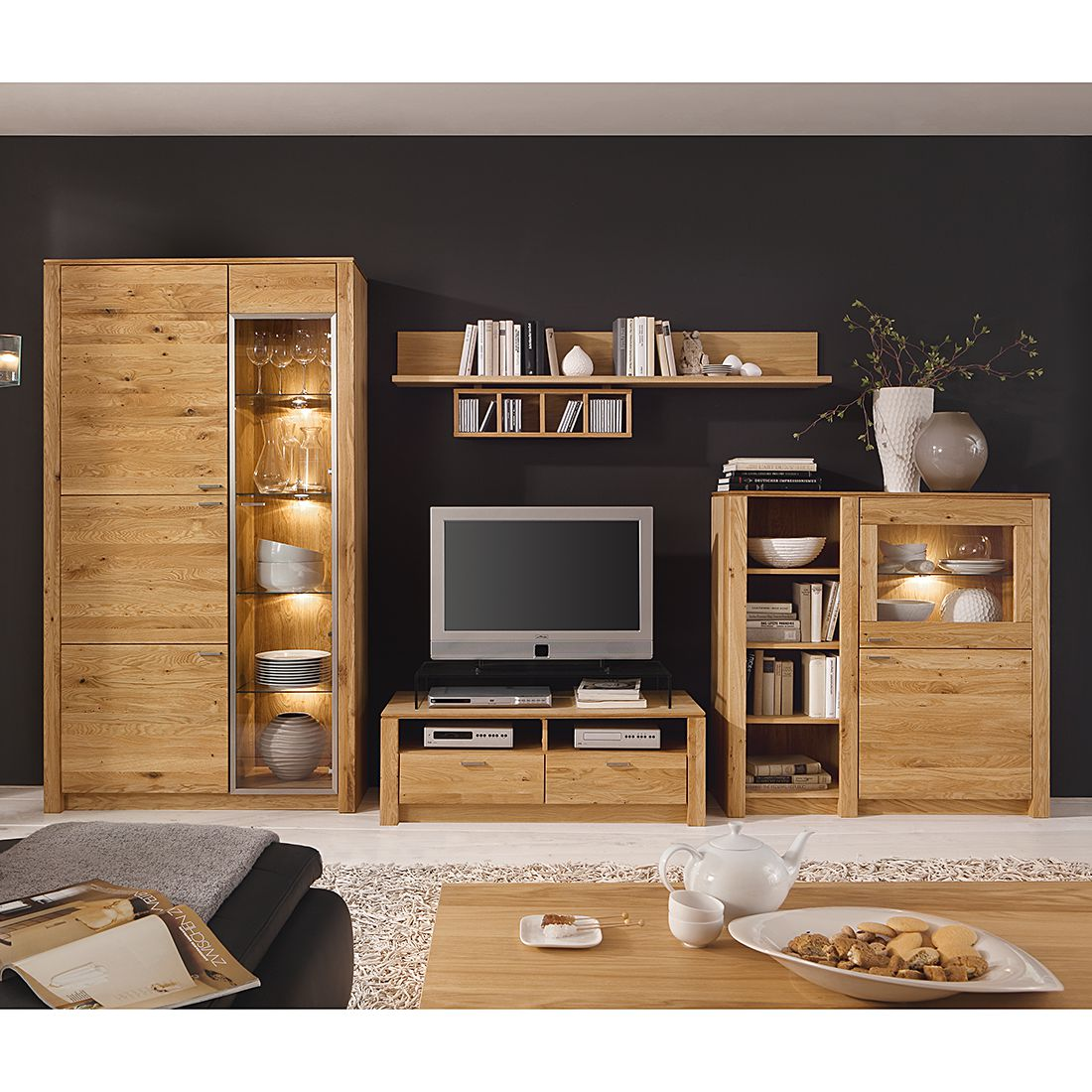 wohnwand chalet i 4 teilig eiche teilmassiv ge lt. Black Bedroom Furniture Sets. Home Design Ideas