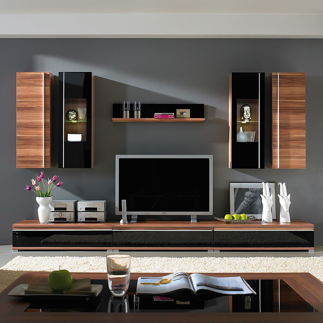 wohnwand cincinatti 8 teilig walnuss schwarzglas. Black Bedroom Furniture Sets. Home Design Ideas