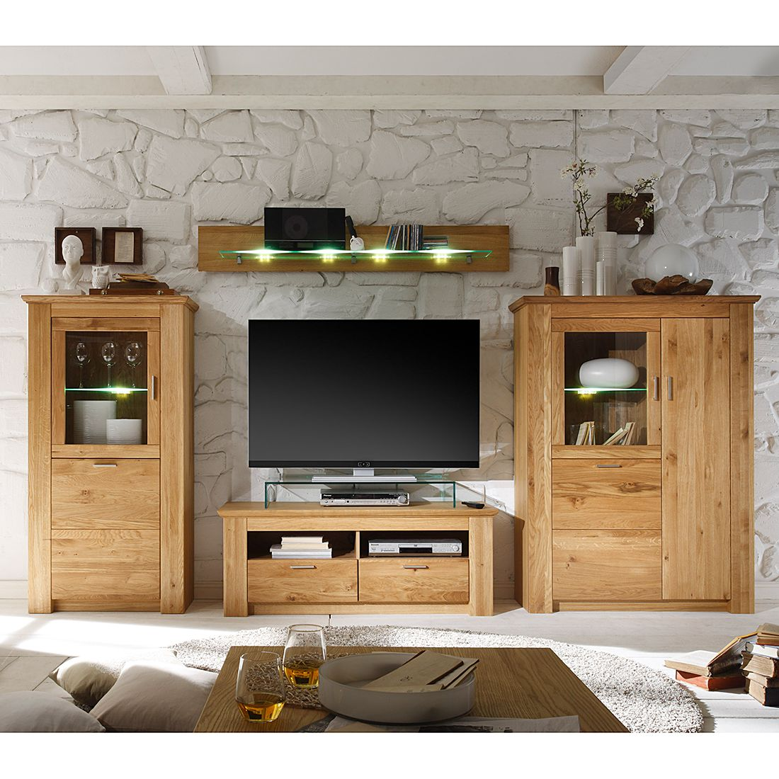 wohnwand cleveland i 4 teilig wildeiche teilmassiv. Black Bedroom Furniture Sets. Home Design Ideas