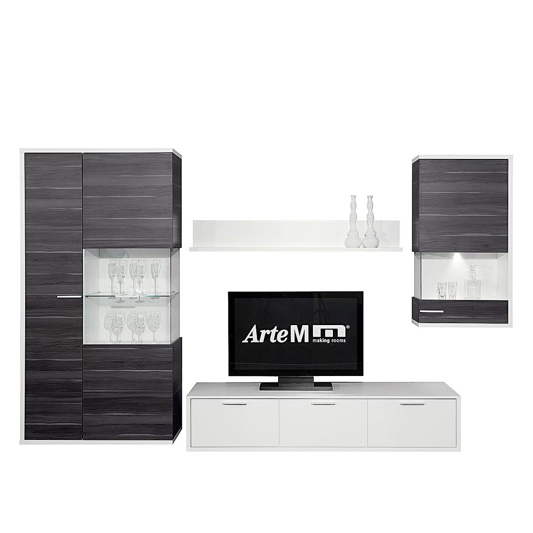 wohnwand clip 4 teilig wei nussbaum dekor grau. Black Bedroom Furniture Sets. Home Design Ideas
