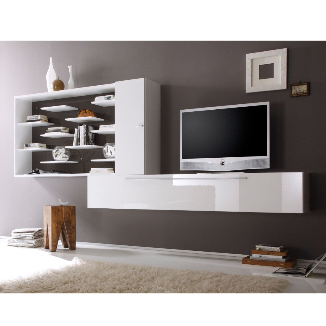 wohnwand coloret wei anthrazit hochglanz. Black Bedroom Furniture Sets. Home Design Ideas