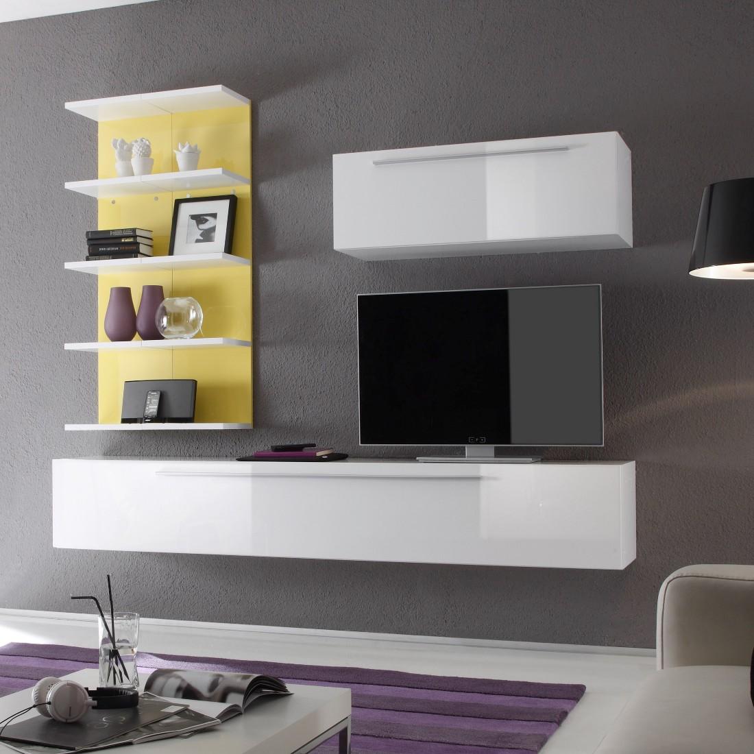 Wohnwand Coloret Weiß/Gelb - Hochglanz