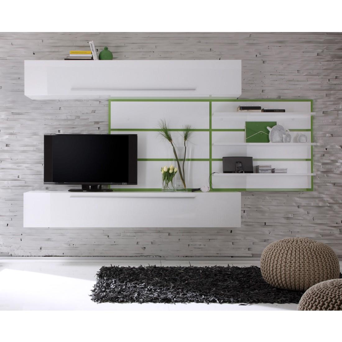 Wohnwand Coloret Weiß/Grün - Hochglanz