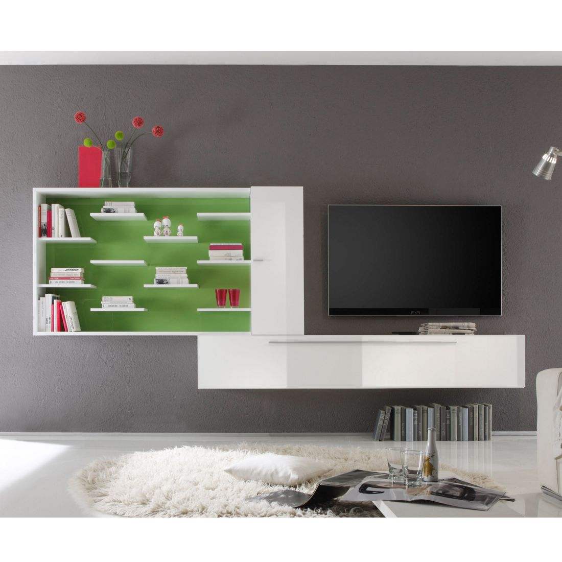 Wohnwand Coloret Weiß/Grün – Hochglanz, GMO bestellen