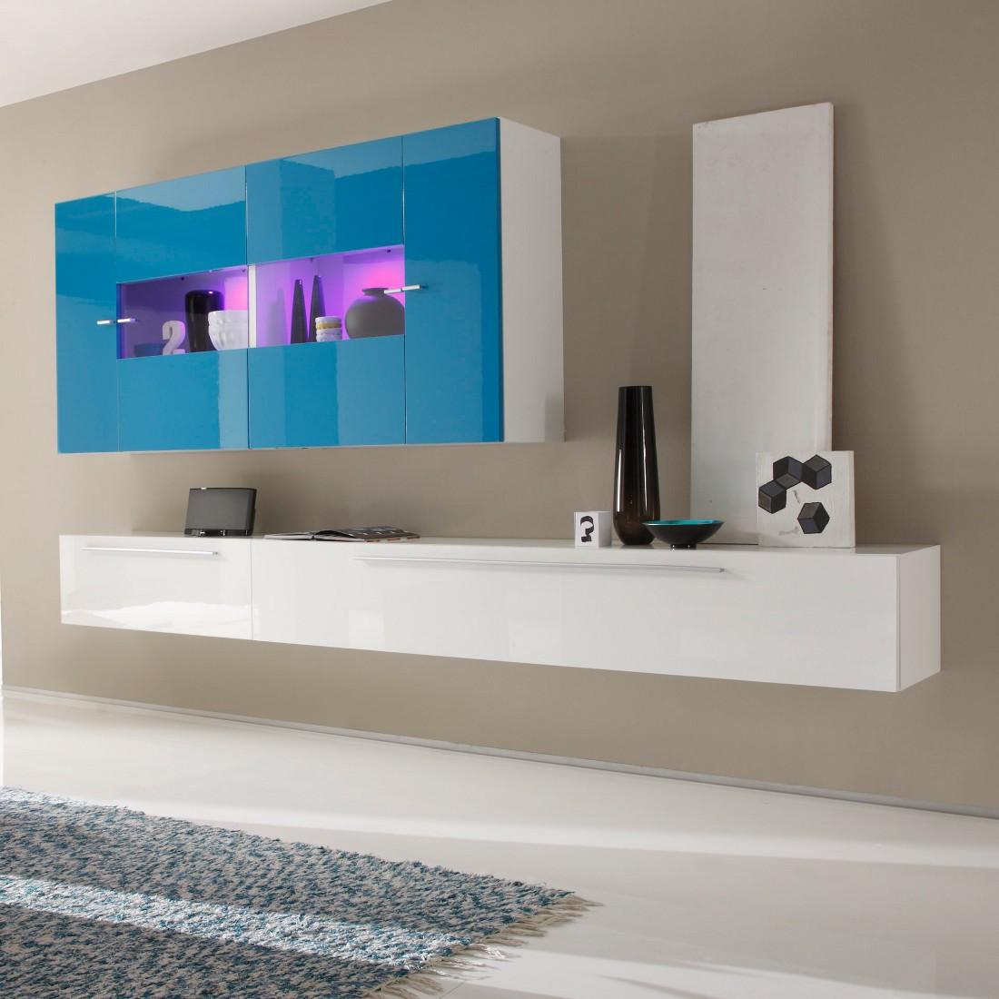 Wohnwand Coloret Weißtürkis Hochglanz Gmo Günstig Kaufen