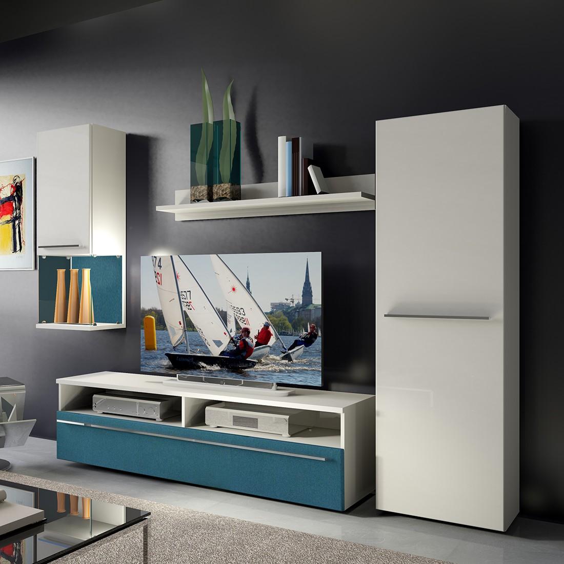 EEK A+, Wohnwand Compact II (4-teilig) – Weiß/Absetzung Petrol – Mit Beleuchtung, California jetzt kaufen