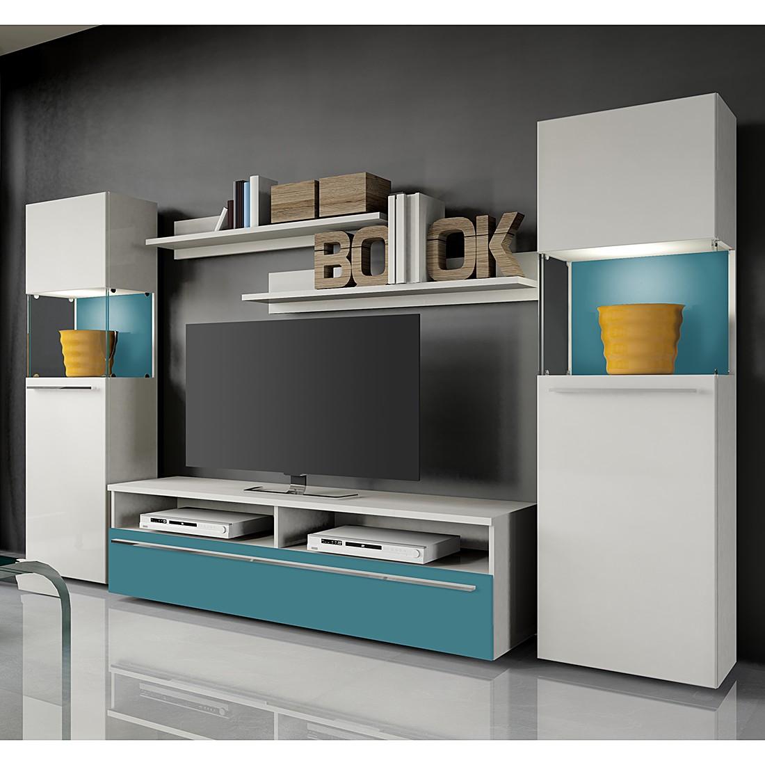 eek a wohnwand compact iii 5 teilig wei absetzung petrol mit beleuchtung california kaufen. Black Bedroom Furniture Sets. Home Design Ideas