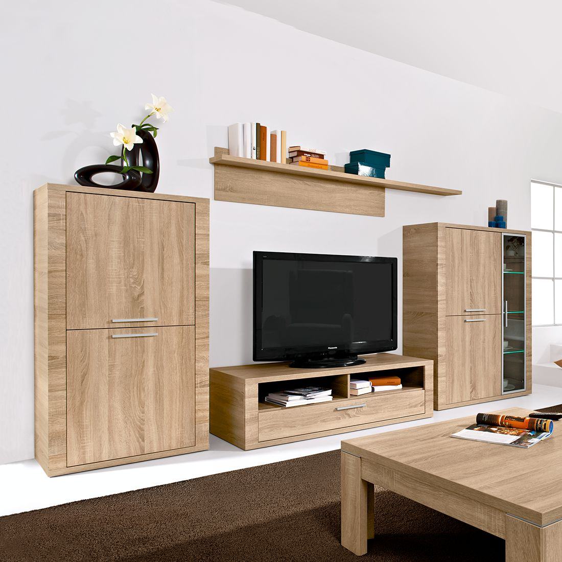 wohnwand cool 4 teilig 326cm breit eiche dekor. Black Bedroom Furniture Sets. Home Design Ideas
