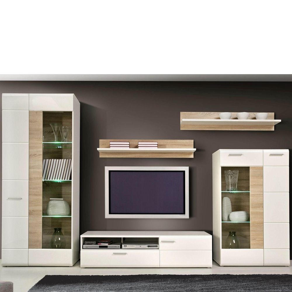 wohnwand coral 5 teilig wei hochglanz sonoma eiche dekor. Black Bedroom Furniture Sets. Home Design Ideas