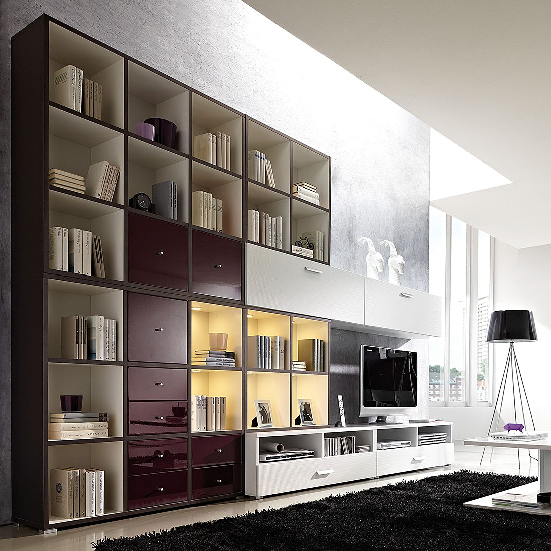 wohnwand cube inklusive beleuchtung wei brombeer anthrazit wohnwand cube inkl beleuchtung. Black Bedroom Furniture Sets. Home Design Ideas