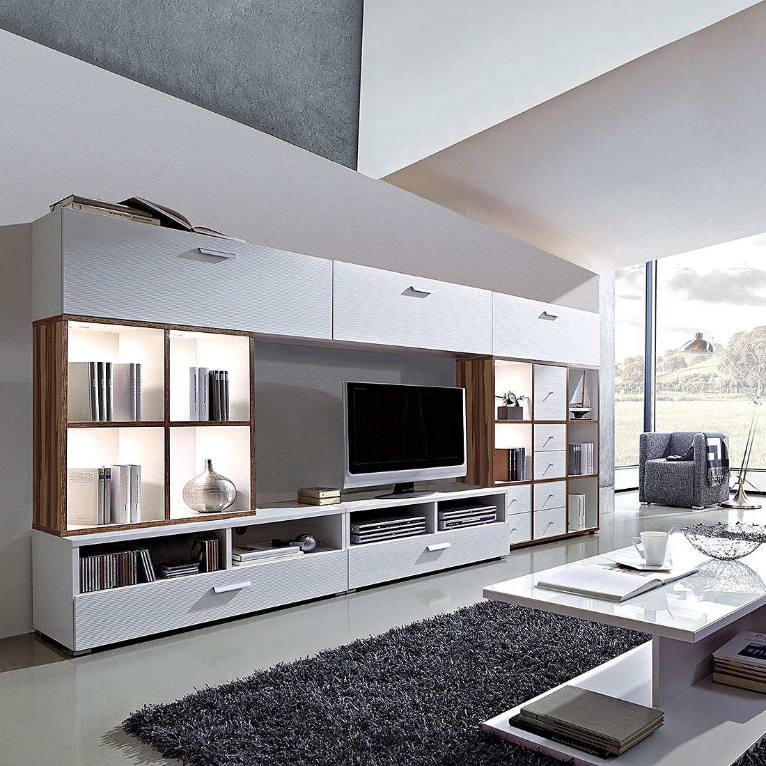 wohnwand cube inkl beleuchtung walnuss wei wohnwand cube kompakt walnuss wei. Black Bedroom Furniture Sets. Home Design Ideas
