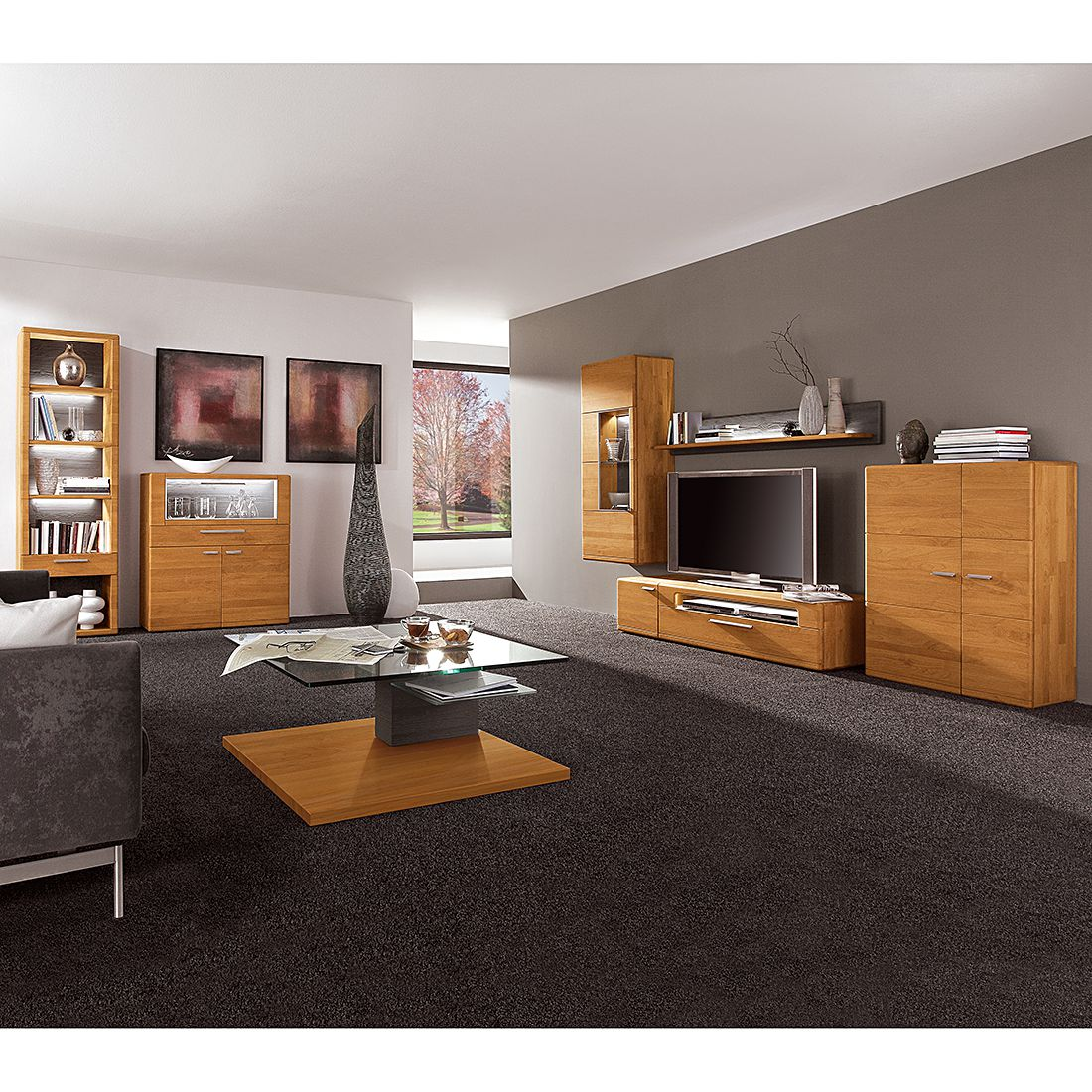 wohnwand curve i 4 teilig erle massiv ohne beleuchtung hartmann kaufen. Black Bedroom Furniture Sets. Home Design Ideas