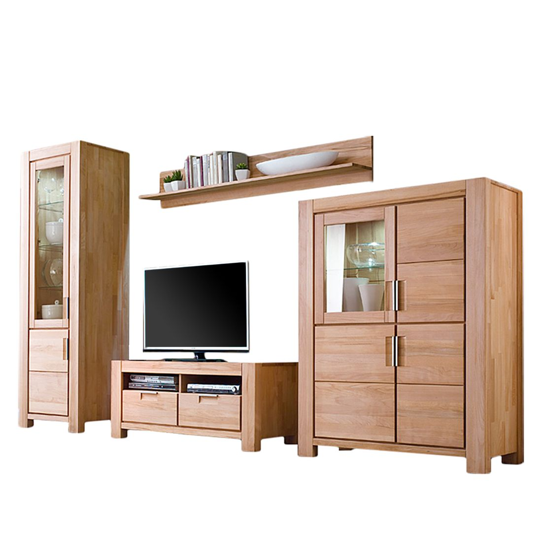 wohnwand dallas ii 4 teilig kernbuche massiv ge lt. Black Bedroom Furniture Sets. Home Design Ideas