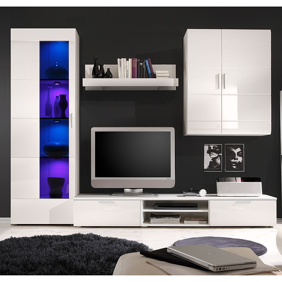 wohnwand dark moon i 4 teilig hochglanz wei absetzung schwarz ohne beleuchtung schrank. Black Bedroom Furniture Sets. Home Design Ideas