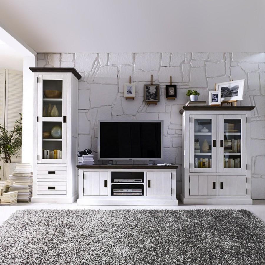 Wohnwand El Hierro (3-tlg.) - Akazie massiv - Weiß, Maison Belfort