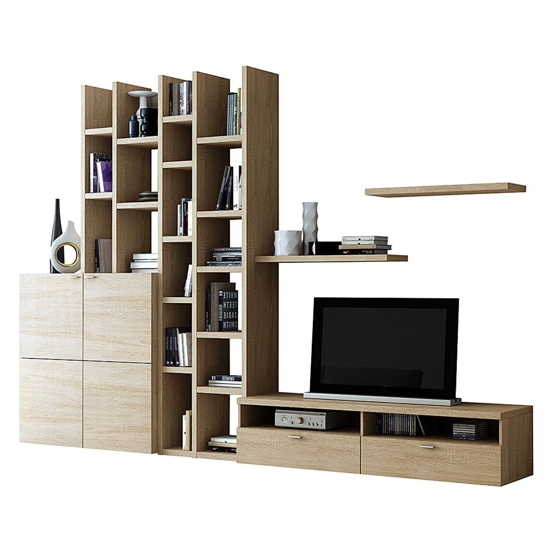 wohnwand emporior i sonoma eiche dekor. Black Bedroom Furniture Sets. Home Design Ideas