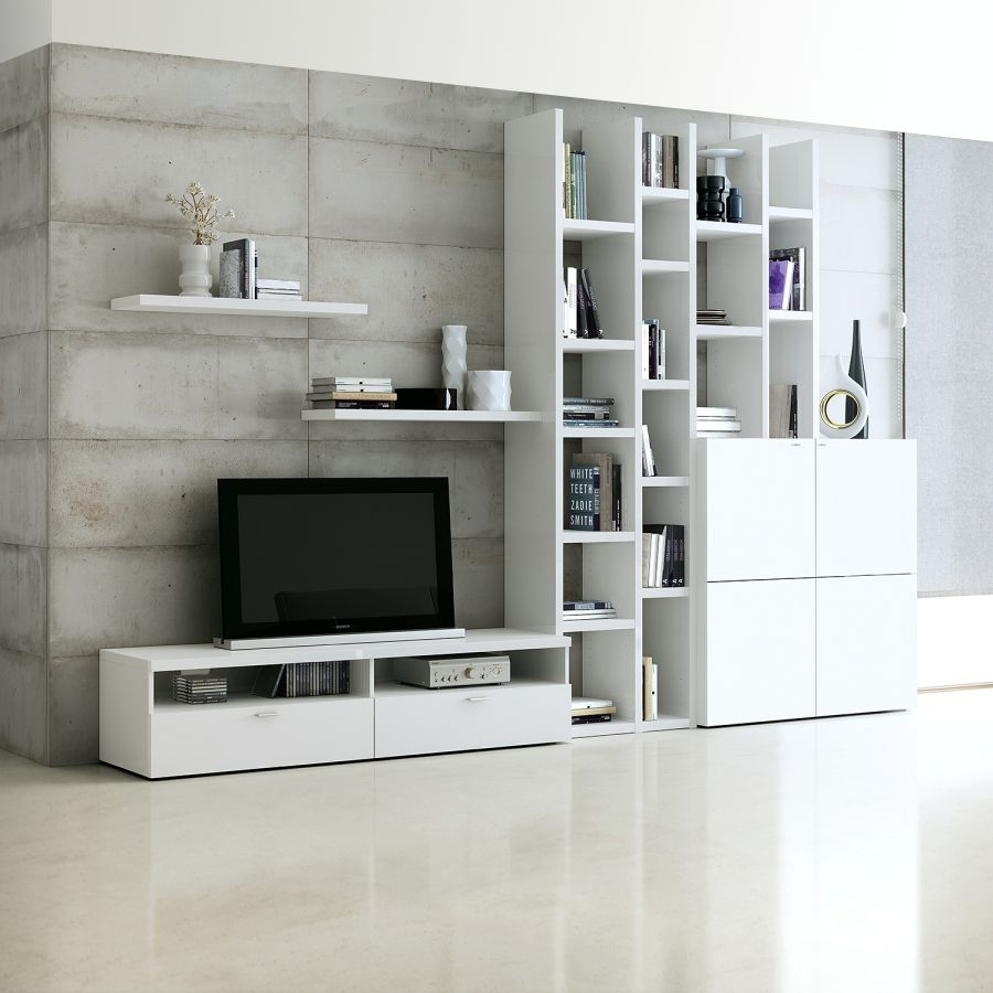 Wohnwand Emporior I - Weiß, loftscape