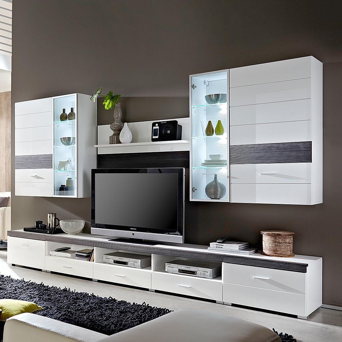 wohnwand evora 6 teilig inkl beleuchtung hochglanz wei pinie touchwood wohnwand evora. Black Bedroom Furniture Sets. Home Design Ideas