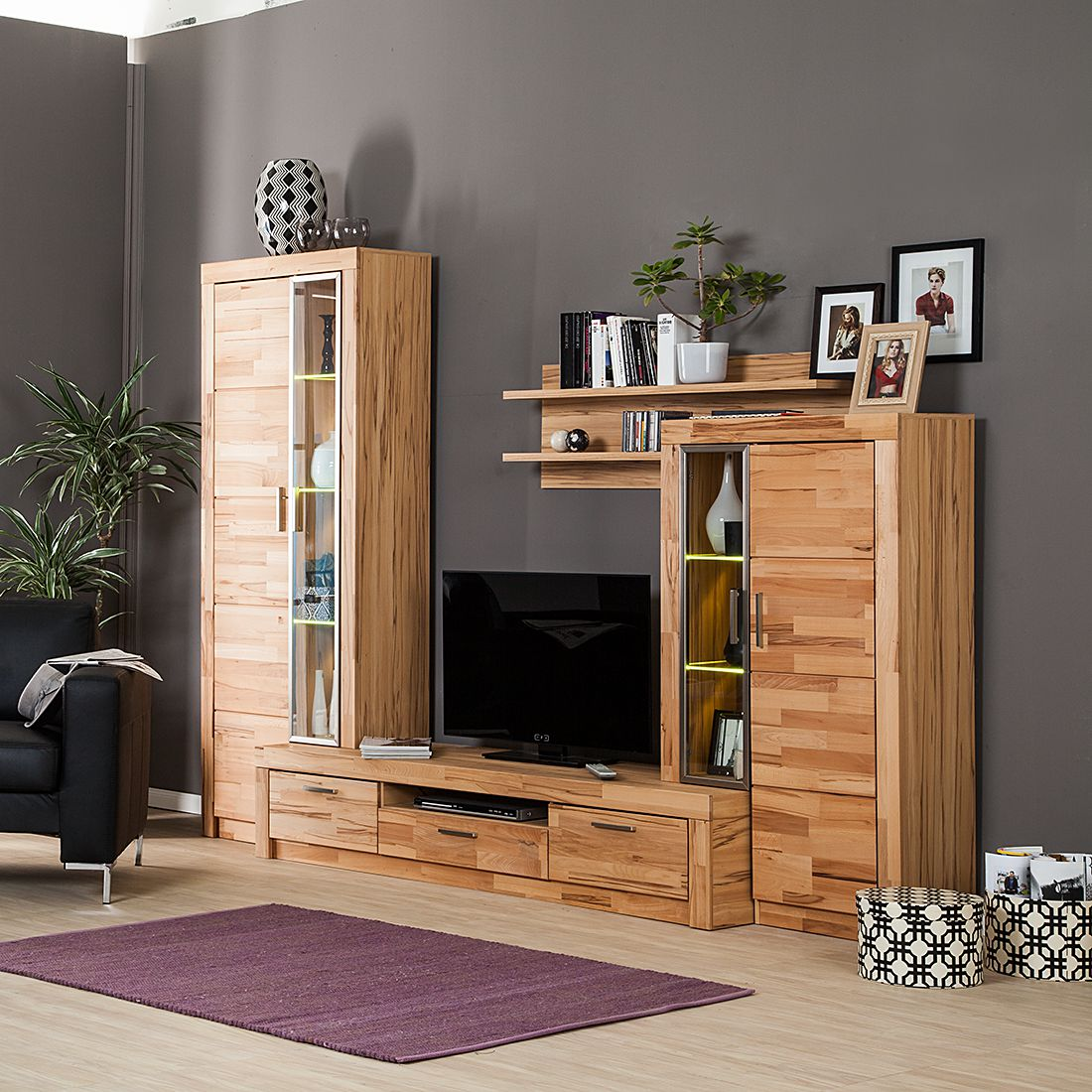 wohnwand foxstone 4 teilig kernbuche teilmassiv. Black Bedroom Furniture Sets. Home Design Ideas