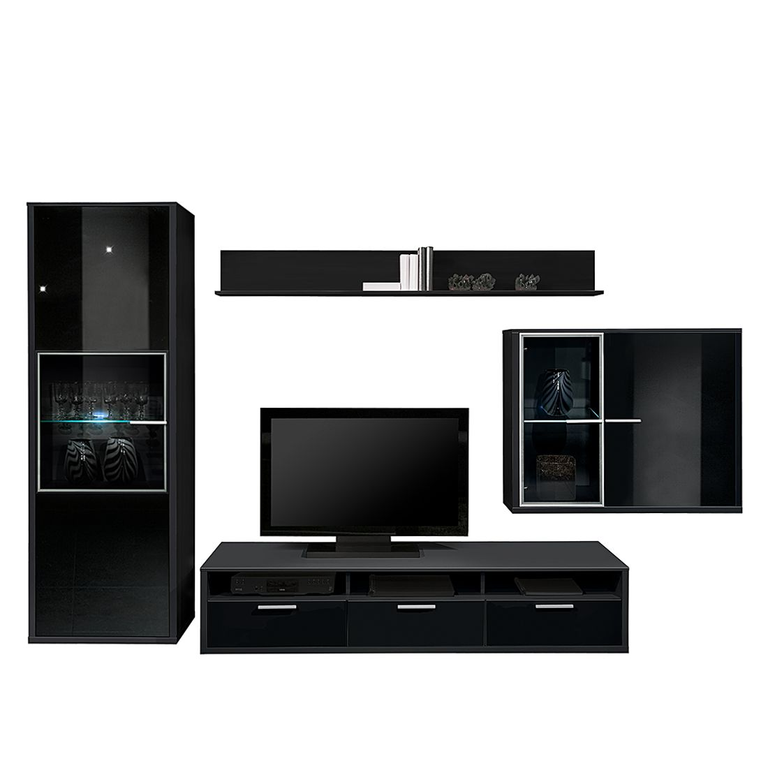 wohnwand game 4teilig mit schwarzglasabsetzung schwarz. Black Bedroom Furniture Sets. Home Design Ideas