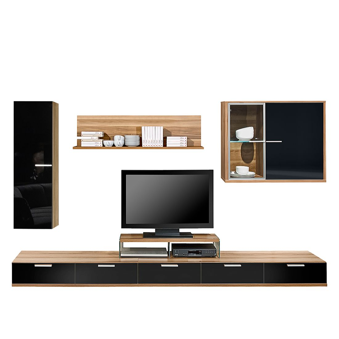 wohnwand game 5 teilig mit hochglanzabsetzung nussbaum. Black Bedroom Furniture Sets. Home Design Ideas