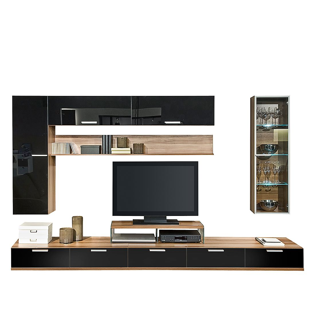 wohnwand game 7 teilig mit hochglanz fronten nussbaum schwarz wei schrank. Black Bedroom Furniture Sets. Home Design Ideas