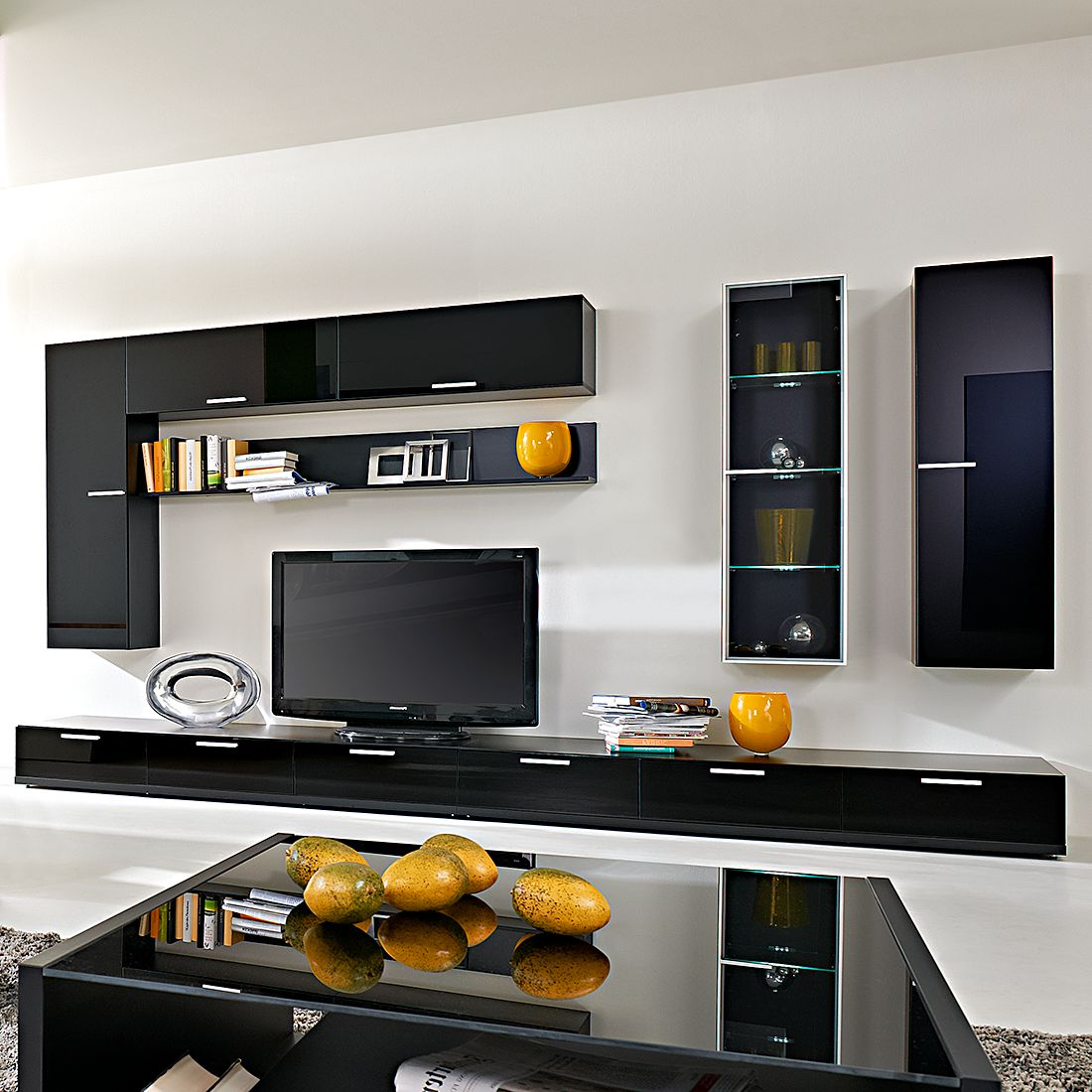 wohnwand game 8 teilig glas schwarz schwarz hochglanz arte m g nstig. Black Bedroom Furniture Sets. Home Design Ideas