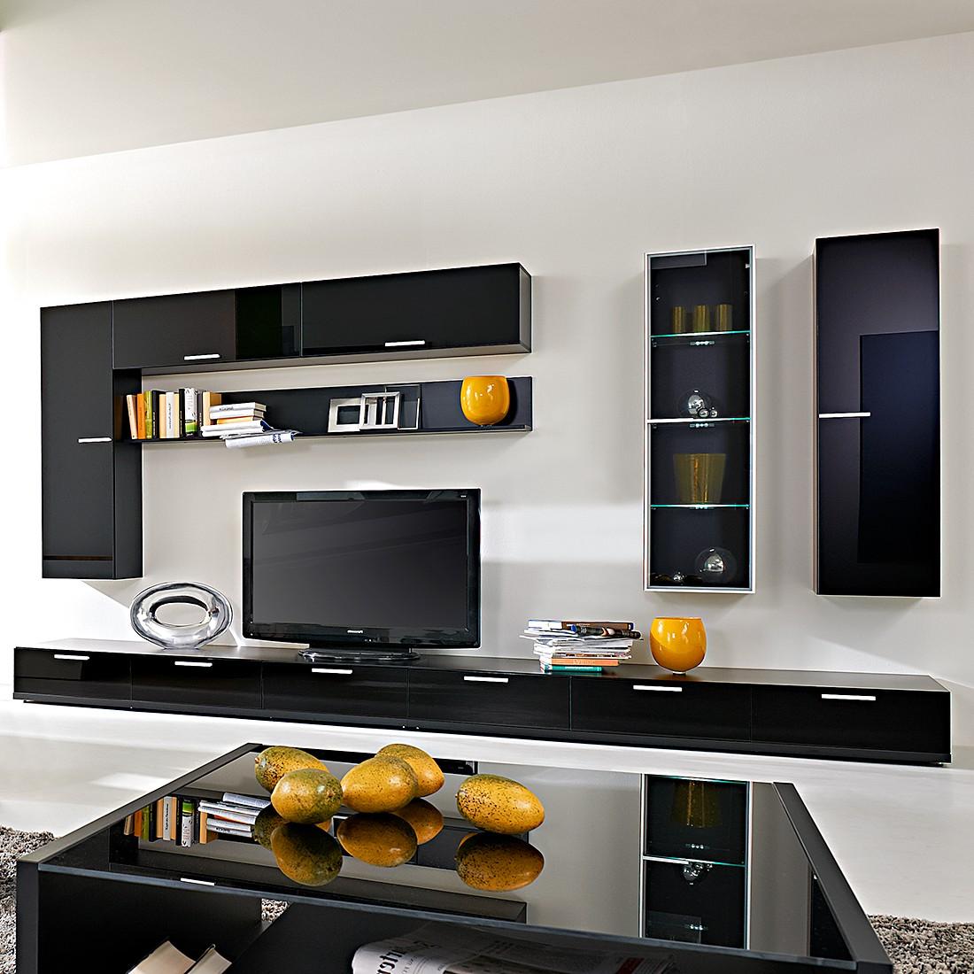wohnwand game 8 teilig glas schwarz schwarz hochglanz arte m g nstig. Black Bedroom Furniture Sets. Home Design Ideas