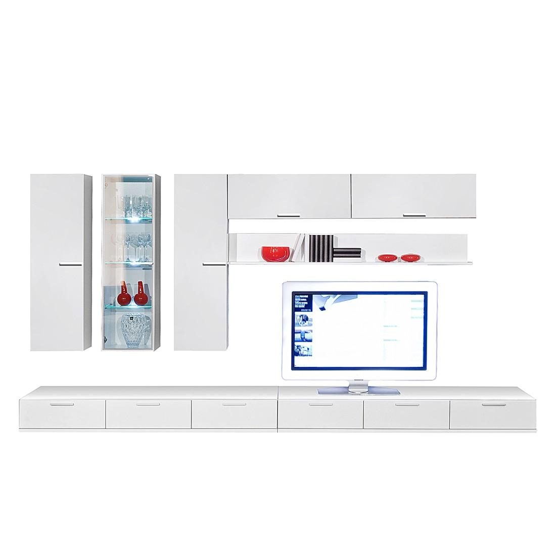 Wohnwand Game (8-teilig) mit Parsolglas – Weiß, Arte M günstig kaufen