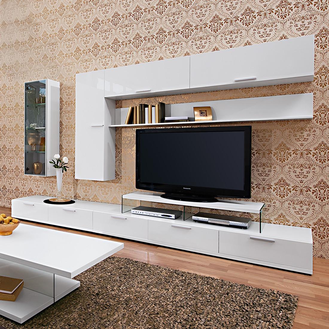 Wohnwand Game I (7-teilig) - Weiß / Hochglanz Weiß - Mit TV-Aufsatz, Arte M