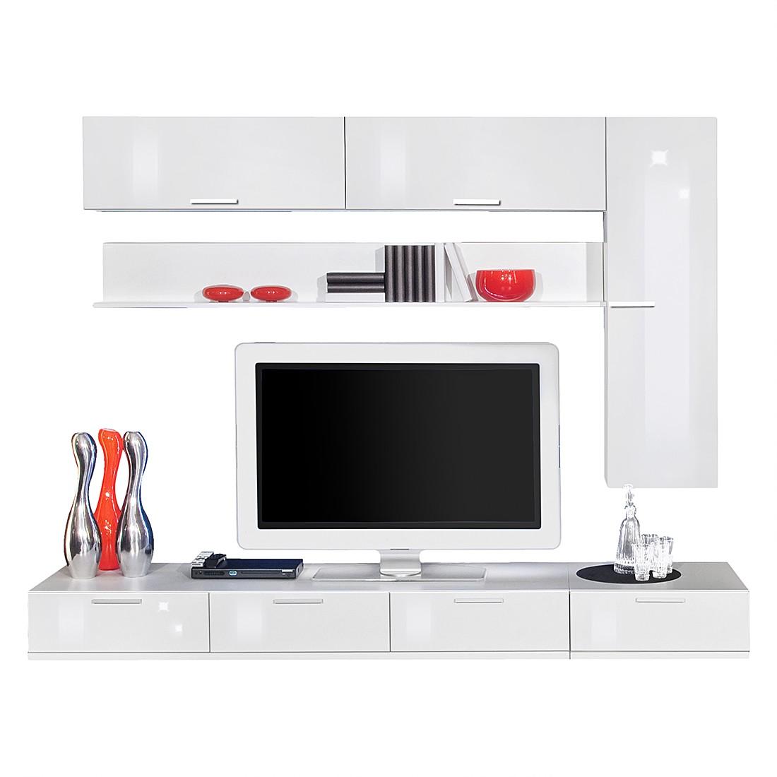 wohnwand game plus 6 teilig wei wei hochglanz. Black Bedroom Furniture Sets. Home Design Ideas