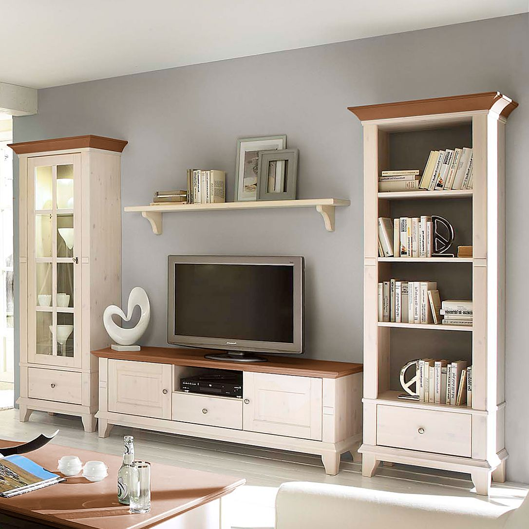 wohnwand georgia 4 teilig ii kiefer massiv vitrinenelement links ohne beleuchtung wei. Black Bedroom Furniture Sets. Home Design Ideas