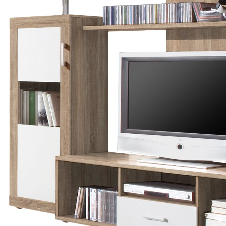 wohnwand gesine 4 teilig eiche sonoma dekor wei anbauwand schrankwand tv wand ebay. Black Bedroom Furniture Sets. Home Design Ideas