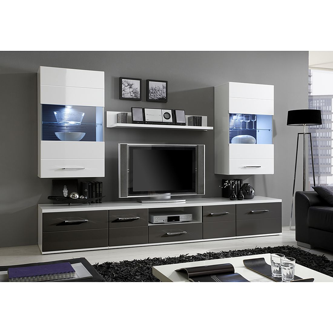 wohnwand hochglanz grau g nstig kaufen. Black Bedroom Furniture Sets. Home Design Ideas
