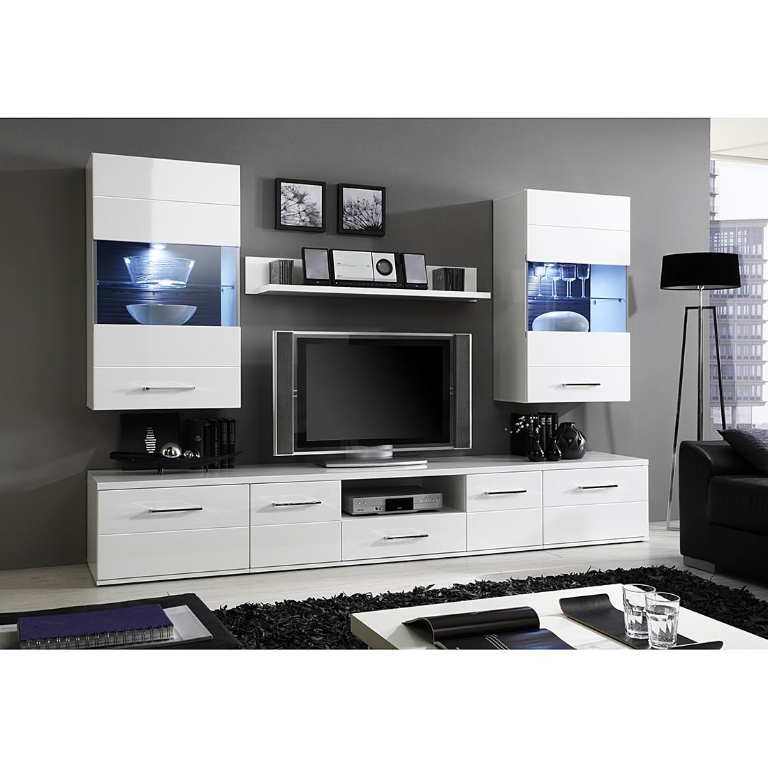 EEK A+, Wohnwand GlossyStar IV (6-teilig) – Hochglanz Weiß, Modoform günstig bestellen