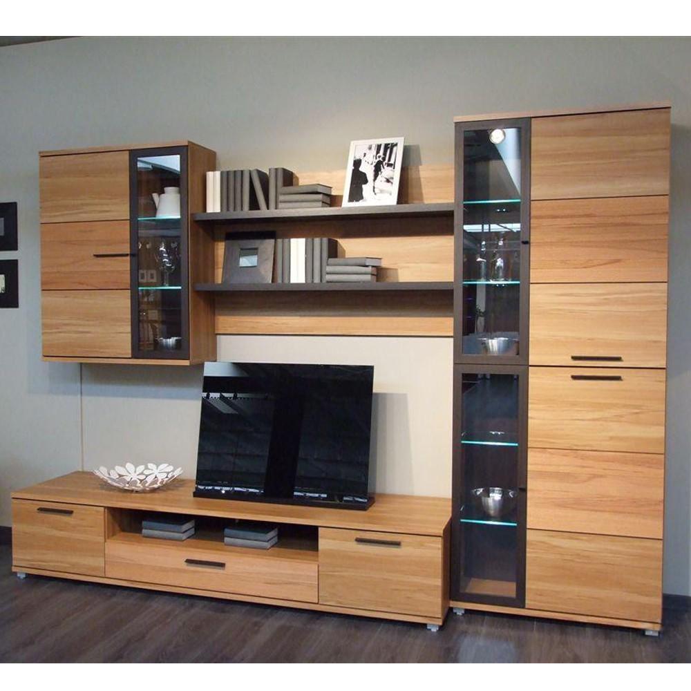wohnwand gonzalo 4 teilig kernbuche teilmassiv braune griffe. Black Bedroom Furniture Sets. Home Design Ideas
