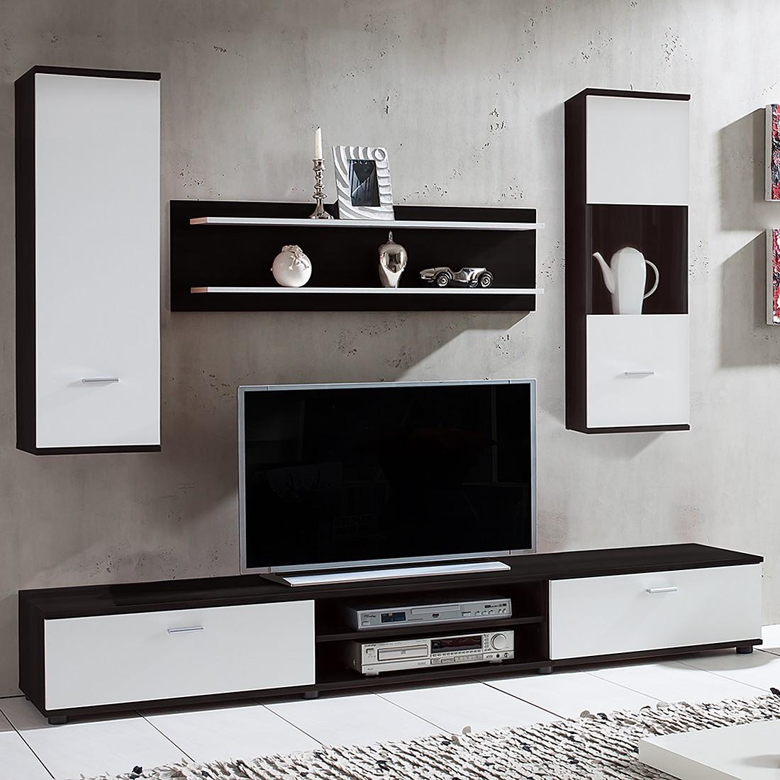 Wohnwand Grinda (4-teilig) – Schwarz/Weiß, mooved günstig