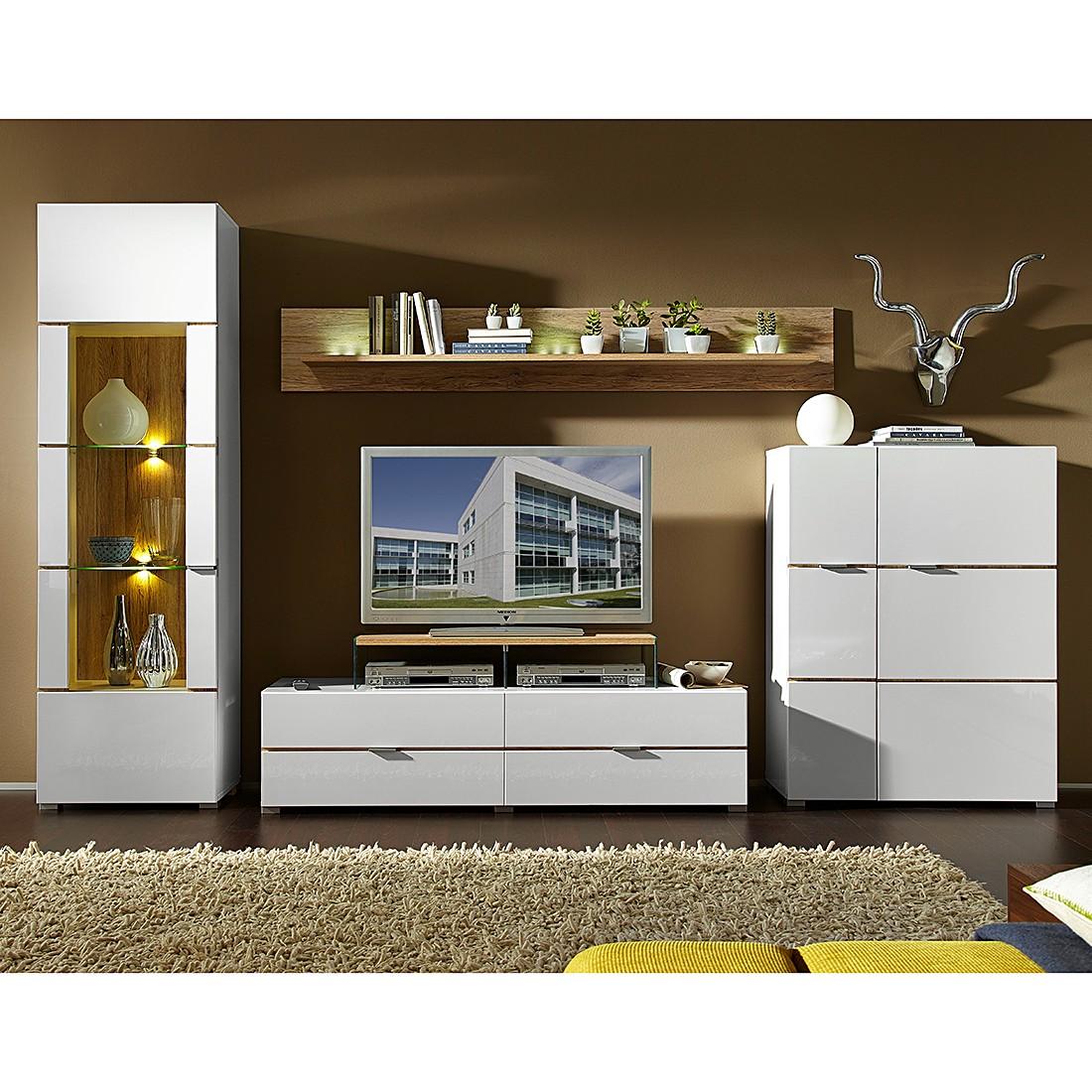 eek a wohnwand hamilton i 4 teilig inklusive beleuchtung hochglanz wei eiche sanremo. Black Bedroom Furniture Sets. Home Design Ideas