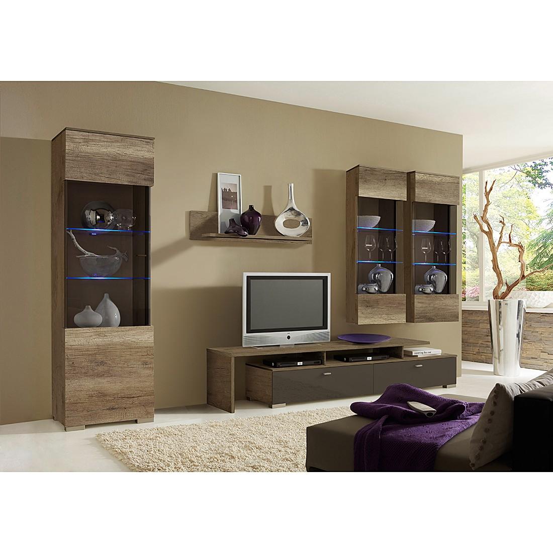 wohnwand leaf wildeiche tr ffel dekor absetzung hochglanz terra mit beleuchtung schrank. Black Bedroom Furniture Sets. Home Design Ideas
