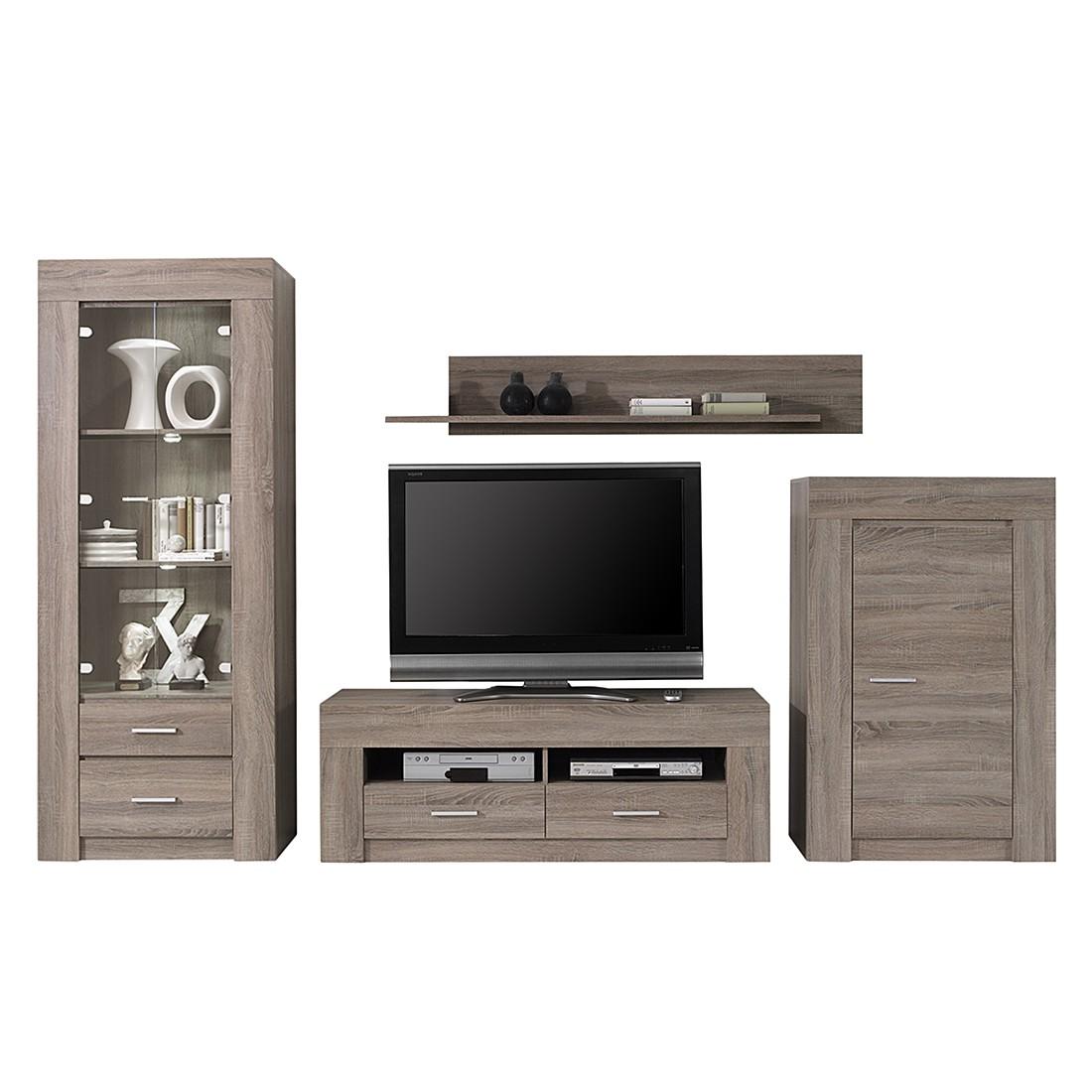 wohnwand impresa i 4 teilig sonoma eiche dekor ohne beleuchtung. Black Bedroom Furniture Sets. Home Design Ideas