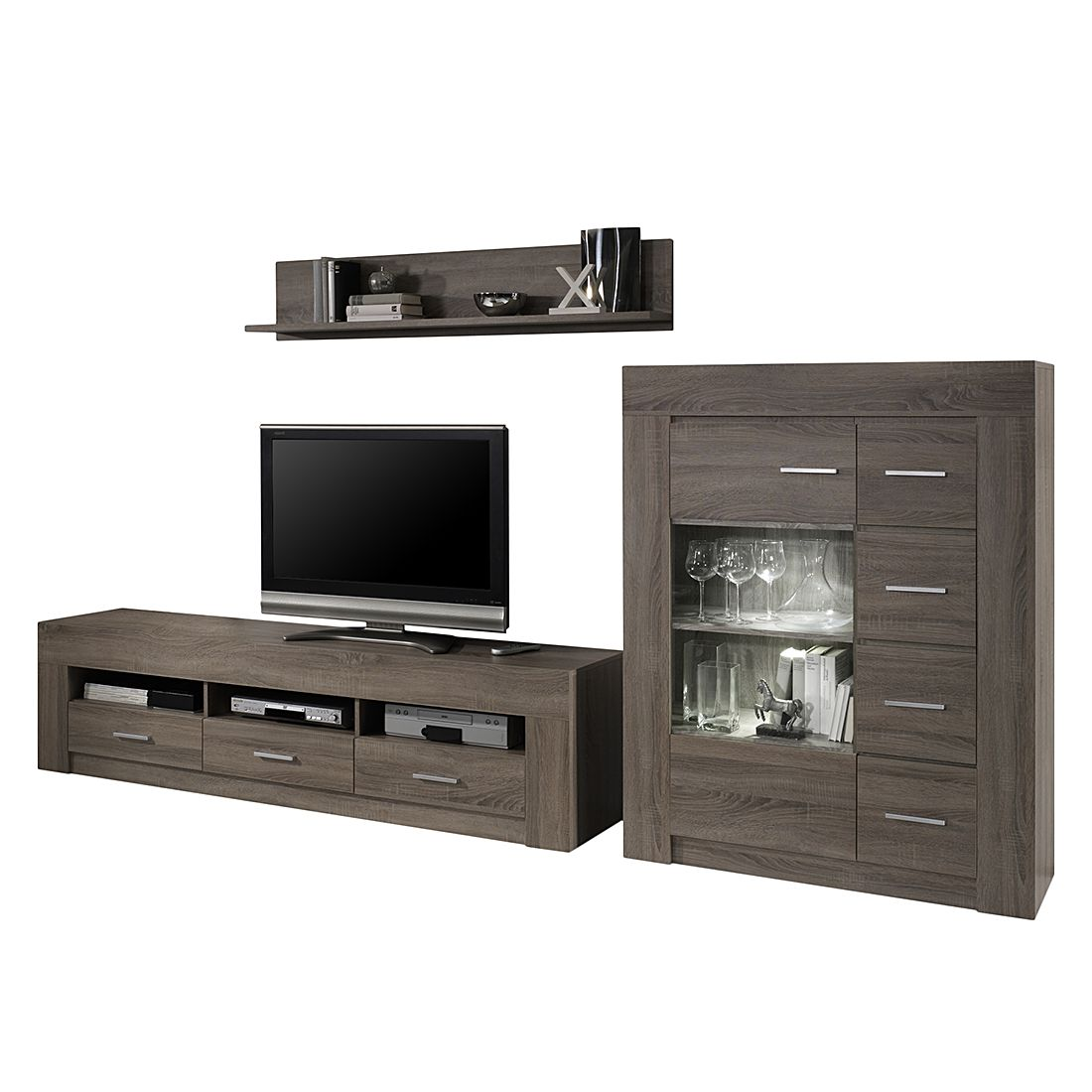 wohnwand impresa ii 3 teilig sonoma eiche dekor ohne. Black Bedroom Furniture Sets. Home Design Ideas