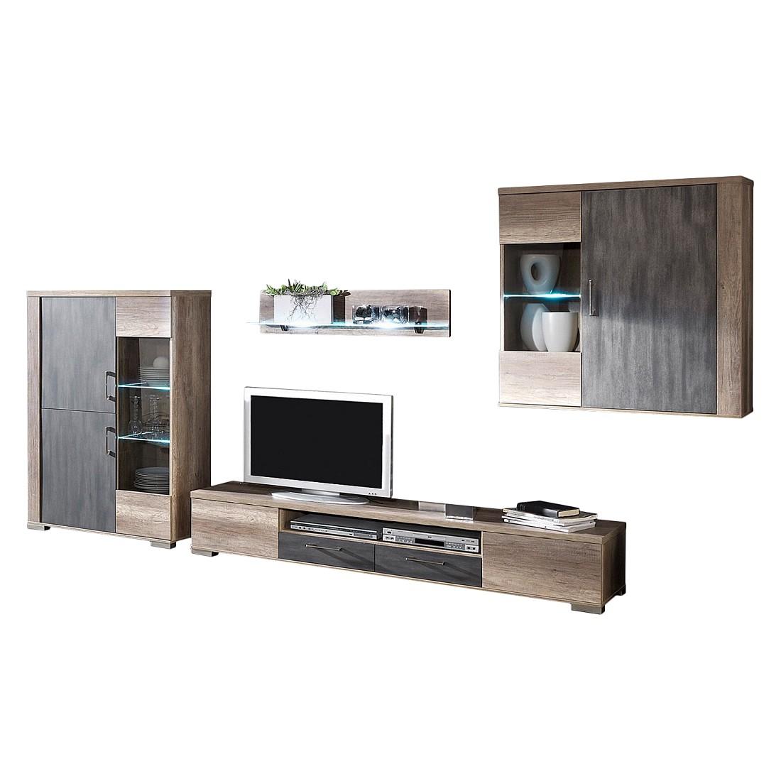 wohnwand jadin ii 4 teilig wildeiche dekor absetzung tr ffel dekor ohne beleuchtung. Black Bedroom Furniture Sets. Home Design Ideas
