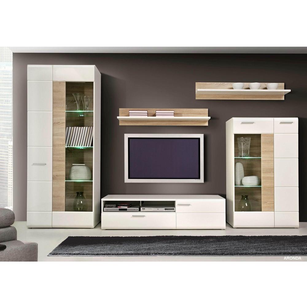 wohnwand buche mit led beleuchtung innenr ume und m bel. Black Bedroom Furniture Sets. Home Design Ideas