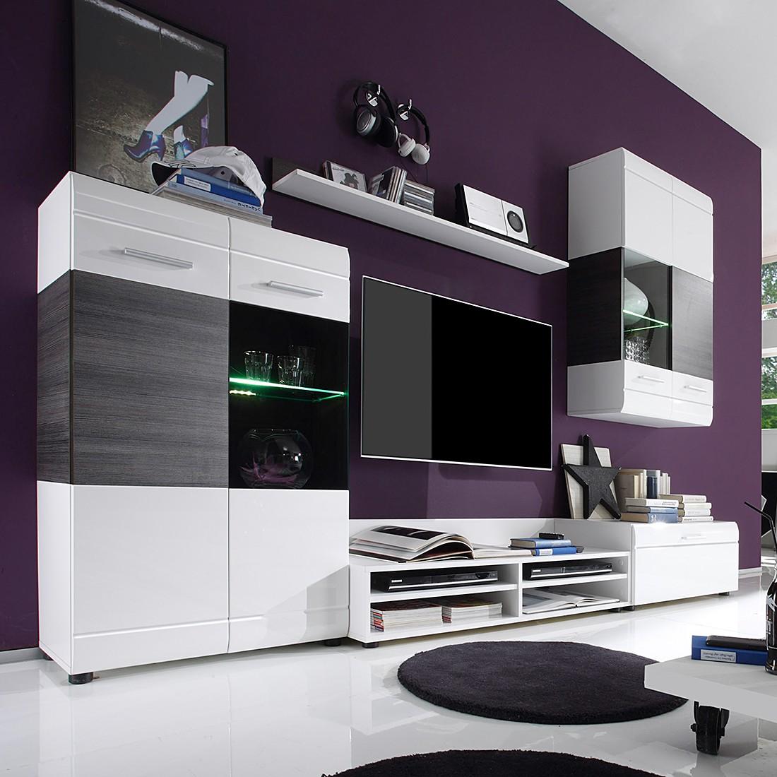 wohnwand jean 4 teilig inkl beleuchtung wei laricio pinie dekor ma e 270 x 180 x 44 cm. Black Bedroom Furniture Sets. Home Design Ideas