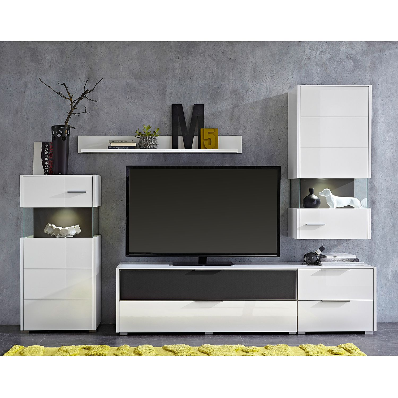 EEK A+, Wohnwand Katakana II (4-teilig) - inkl. Beleuchtung - Hochglanz Weiß / Weiß, roomscape
