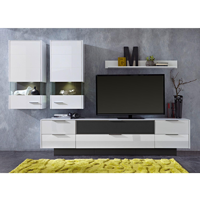 EEK A+, Wohnwand Katakana III (4-teilig) - Inkl. Beleuchtung - Hochglanz Weiß / Weiß, roomscape