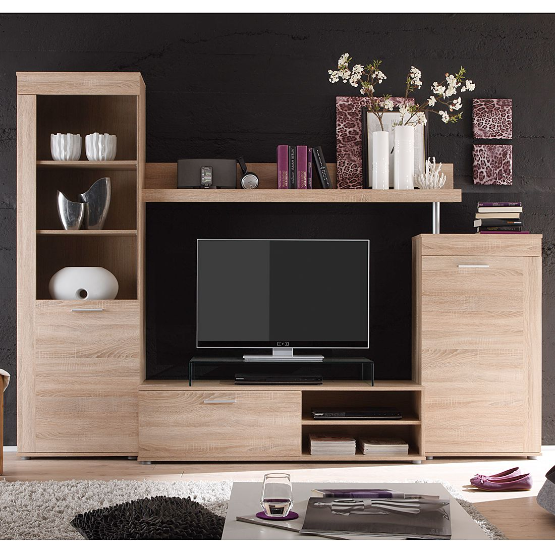 wohnwand laurelle 4 teilig eiche s gerau hell dekor. Black Bedroom Furniture Sets. Home Design Ideas