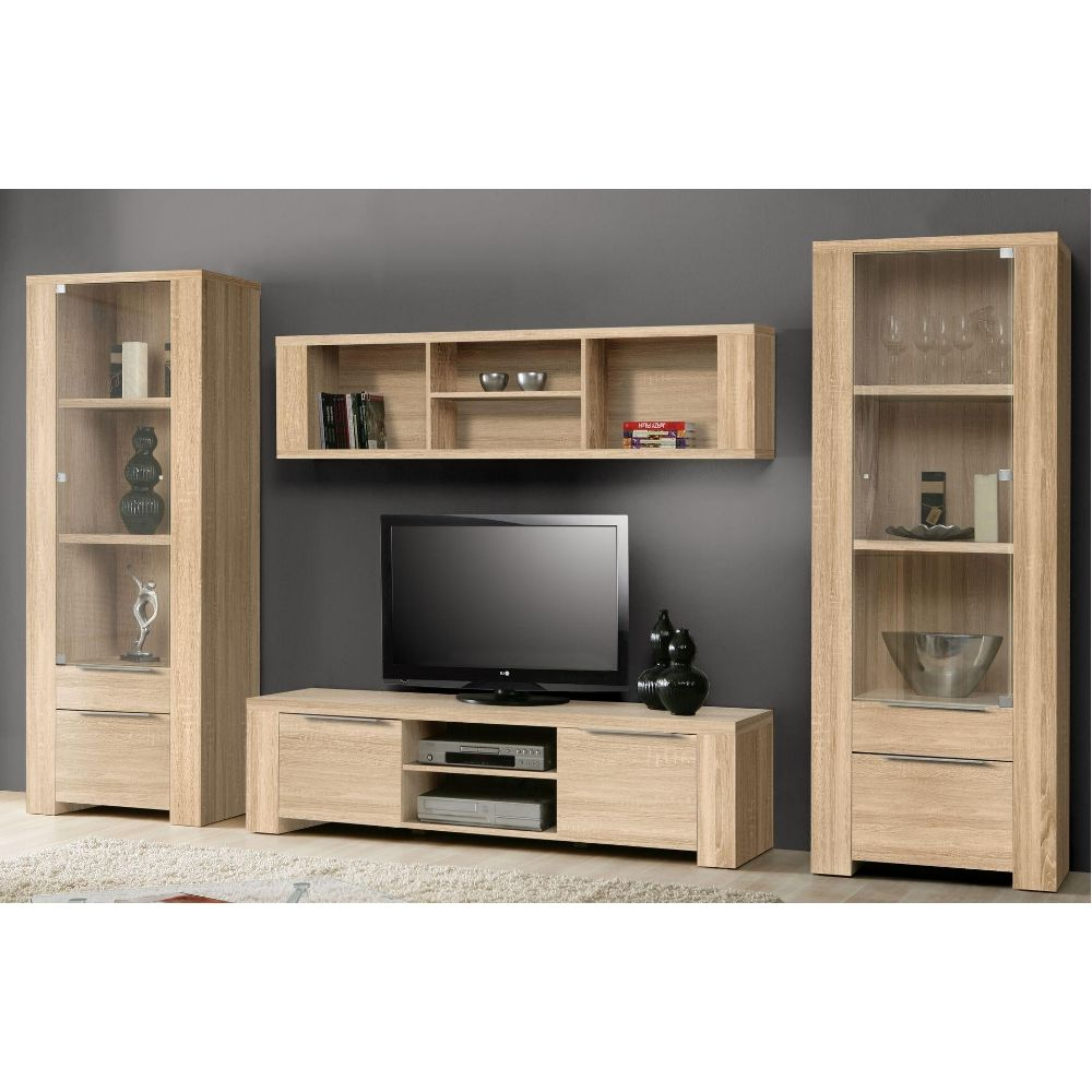wohnwand leander 4 teilig sonoma eiche dekor. Black Bedroom Furniture Sets. Home Design Ideas