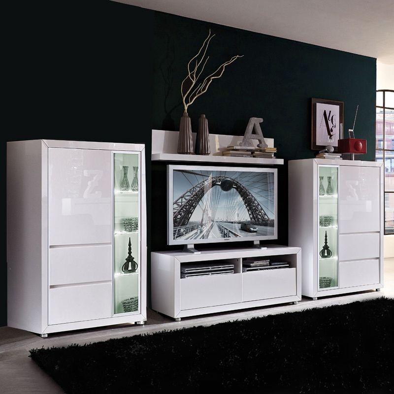 EEK A+, Wohnwand Lino I (4-teilig) – Hochglanz Weiß – Mit Blauer Beleuchtung, Top Square günstig kaufen