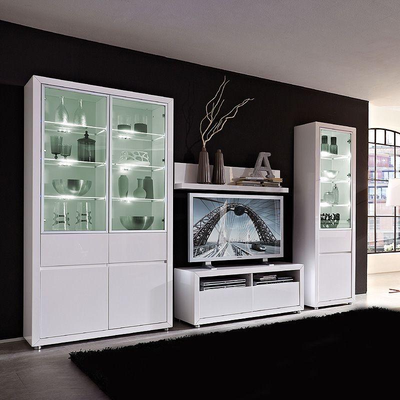 Wohnwand Lino V (4-teilig) – Hochglanz Weiß – Ohne Beleuchtung, Top Square günstig